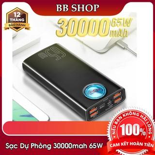 Sạc dự phòng Baseus 30000mAh 65W 33W PD dùng cho Smartphone ,iPad ,Laptop Macbook tặng kèm cáp 100W
