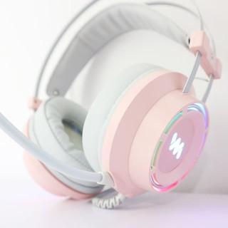 Tai nghe chơi game giá rẻ Wangming 9800S – Màu hồng xám cực đẹp – Led đổi màu – BH 12 tháng