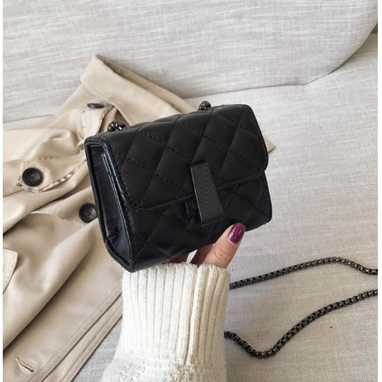 Túi xách đeo chéo mini da nữ trần trám khóa cách điệu dây đan-A222