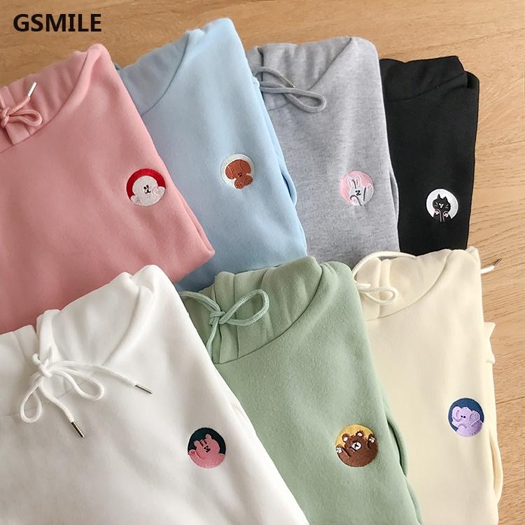 Áo Hoodie hoạ tiết hoạt hình phong cách Hàn Quốc thiết kế đơn giản cho ph