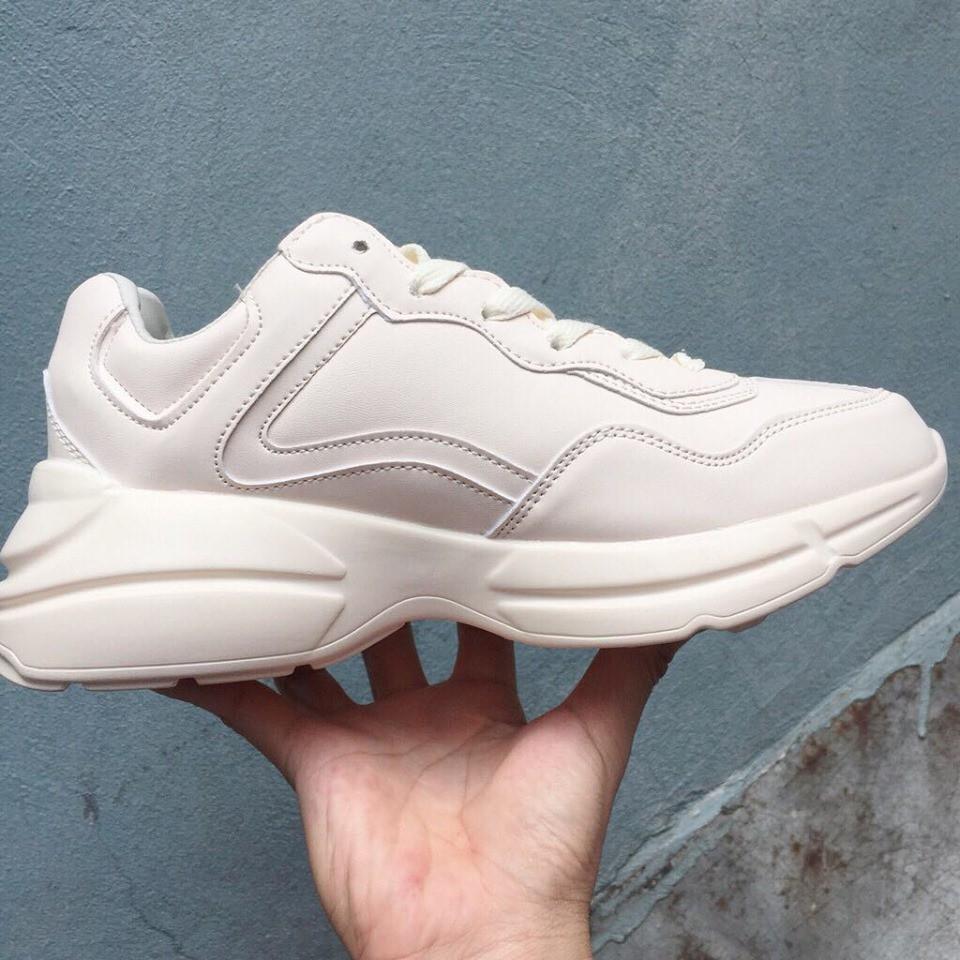Giày nữ thể thao NY màu kem đế cao siê
