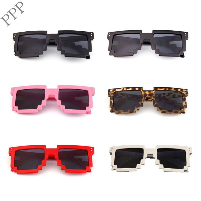 Vintage Mosaic Square Plastic Frame UV400 Sunglasses Unisex Glasses Full-Rim