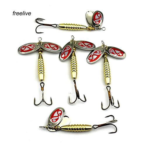 FLE_Practical Metal Sequins Fish Lure Outdoor Fishing Bait with Three Hooks Tackle