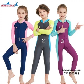 Bộ bơi liền thân dài tay cao cấp Dive & Sail chỉ số chống nắng cao, đồ bơi giữ nhiệt cao cấp cho bé trai bé gái