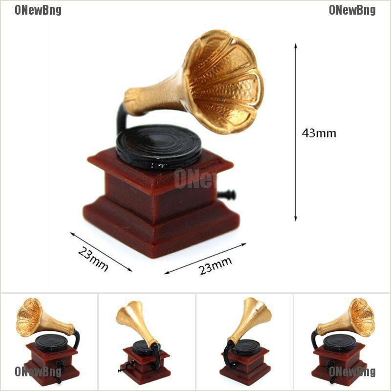 ONewBng✪ 1:12 Miniature Retro Phonograph Dollhouse Diy Doll House Decor Accessories