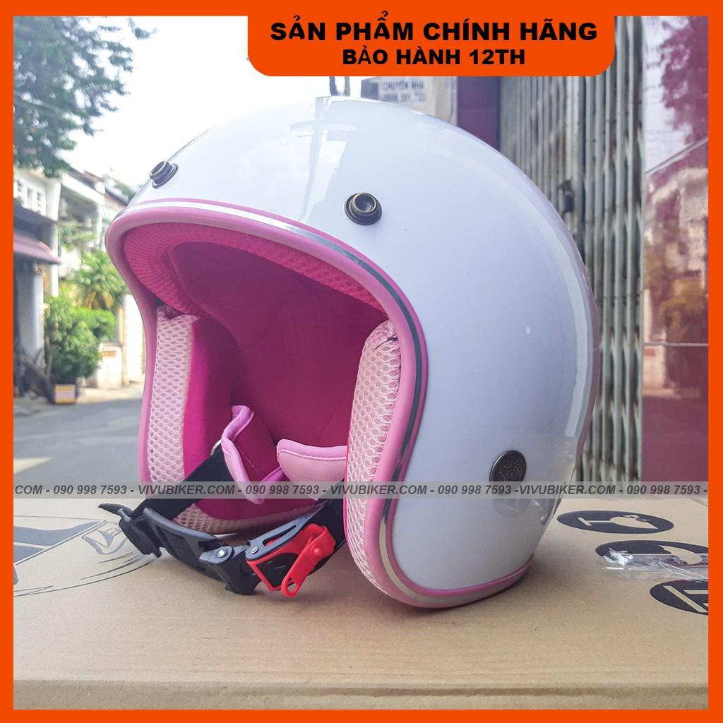 Nón bảo hiểm 3/4 màu trắng lót hồng gắn tai mèo, Mũ bảo hiểm 3/4 tai thỏ trắng lót hồng chính hãng công ty