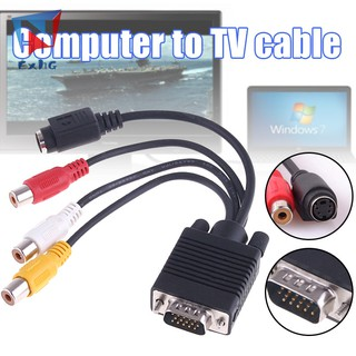 ExhG❤❤❤High quality Adapter Cable VGA to AV TV S-Video 3 Audio Video Converter Durable For PC Computer @VN