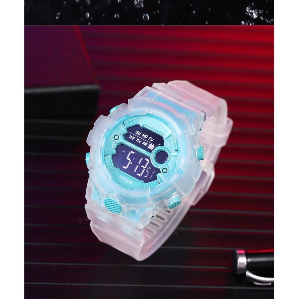 Đồng hồ điện tử thể thao thời trang nữ dây Silicon trong suốt cao cấp AOSUN PKHRAS002 (46 mm)