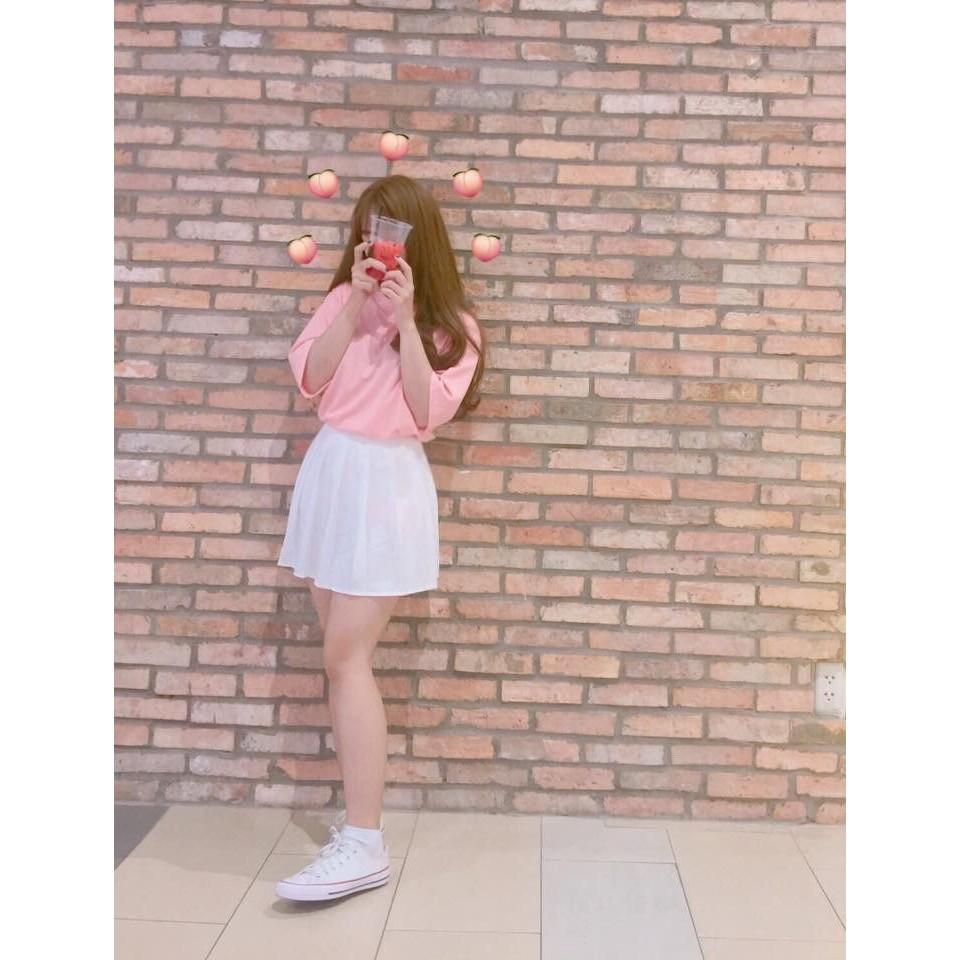 áo thun tay lỡ trơn hồng dâu kèm ẢNH THẬT (kiểu phông form rộng)