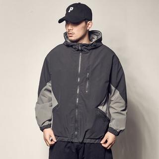 Men's Workwear Jacket Korean Style Loose Casual Color Block Hooded Top