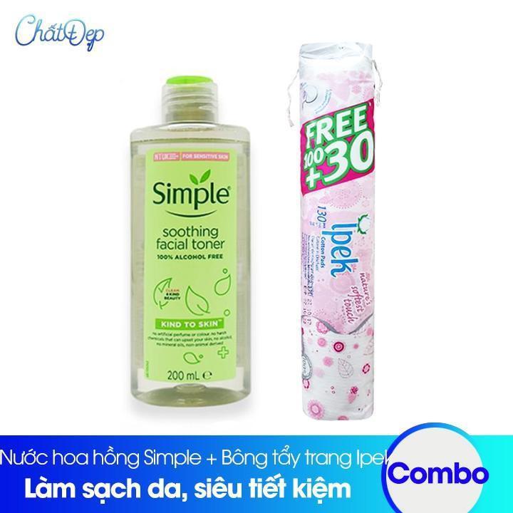 Combo Nước hoa hồng Simple và Bông tẩy trang Ipek 130 miếng