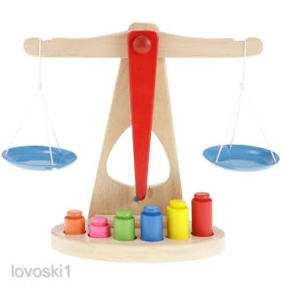 Children Educational Toy Balance Scale w/ Wooden Multicolor Weights Creative