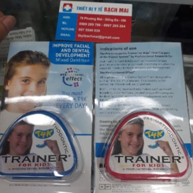 Máng chỉnh răng trainer t4k xanh,hồng Hàm nắn chỉnh răng mọc lệch lạc 6-10 tuổi HÀNG