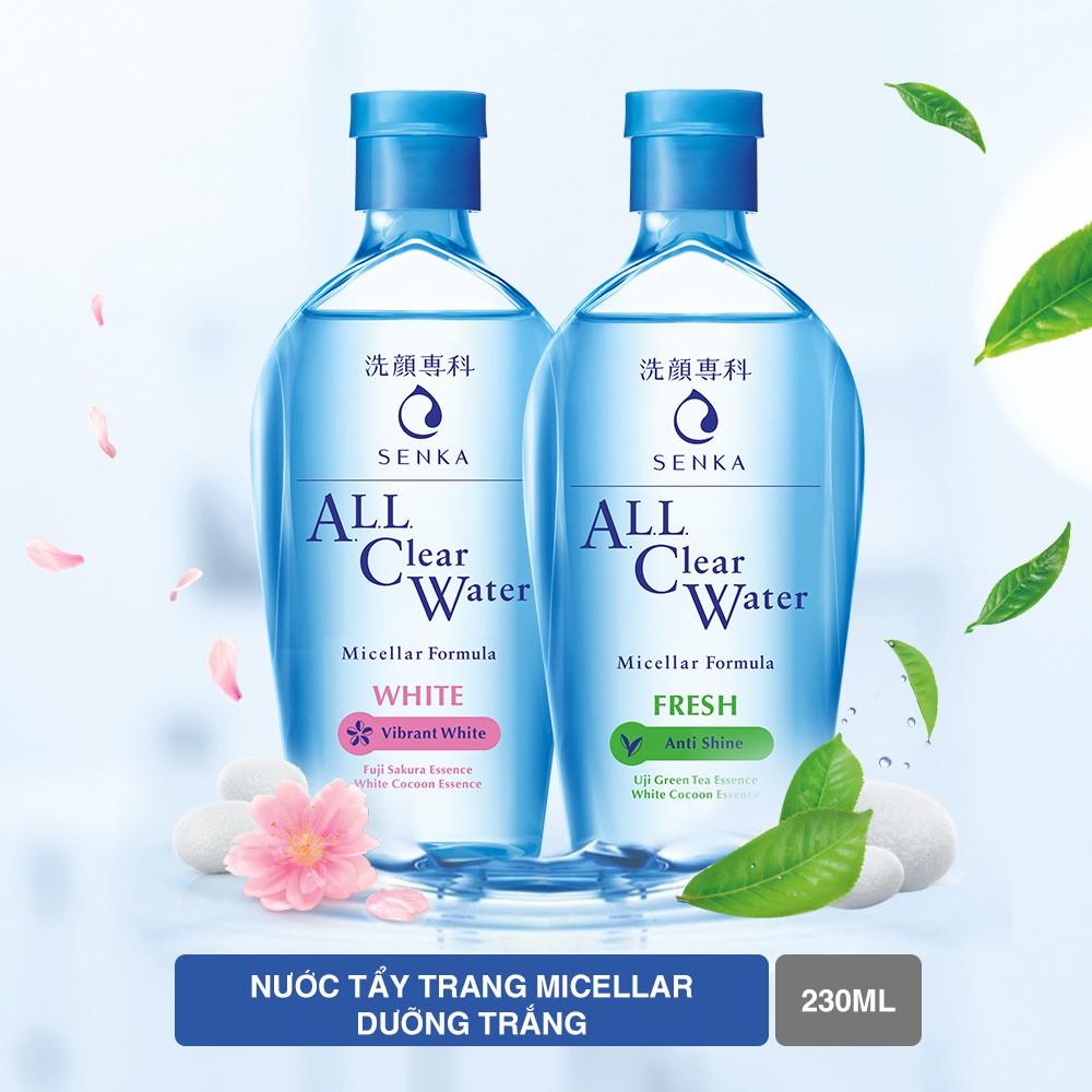 Nước tẩy trang dưỡng trắng Senka All Clear Water Micellar Formula White 230ml