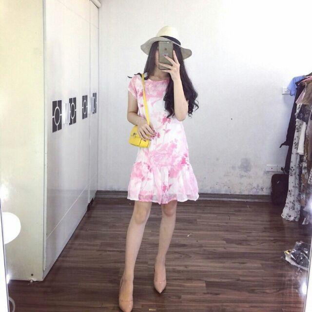 váy voan hoa hồng 2 lớp