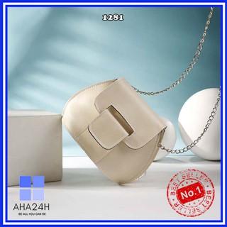 Túi đeo chéo hàn quốc⚡FREESHIP⚡túi nữ oval dây xích khóa cài độc lạ cá tính AH1281