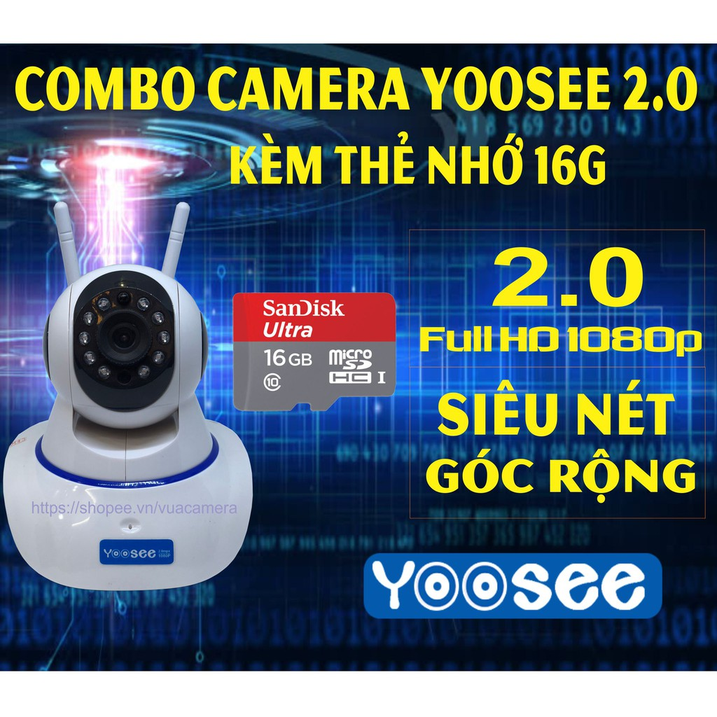 [Combo] Camera Yoosee 2.0mpx FHD - Kèm Thẻ nhớ Sandisk Ultra 16GB class 10 - 3538085 , 1135328633 , 322_1135328633 , 720000 , Combo-Camera-Yoosee-2.0mpx-FHD-Kem-The-nho-Sandisk-Ultra-16GB-class-10-322_1135328633 , shopee.vn , [Combo] Camera Yoosee 2.0mpx FHD - Kèm Thẻ nhớ Sandisk Ultra 16GB class 10