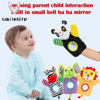 Stuffed Animal Activity Puppet Soft Plush Polyester Fabric With Mirror for Kids Parents