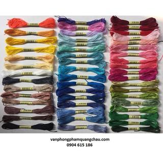 Gói 50 tép chỉ thêu tay sợi cotton màu trơn khác nhau