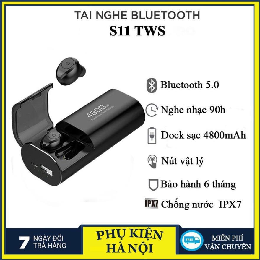 Tai Nghe + Sạc Dự Phòng #S11 -Bluetooth 5.0 Chống Nước IPX7 - Nghe nhạc lên 100h - Tự Động Kết Nối - Chống ồn CVC 8.0