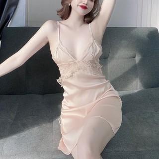 Đồ Ngủ Sexy Lụa Satin Đầm Cột Nơ Sau Kèm Quần Chip Cao Cấp - BV05 - Babi mama thumbnail