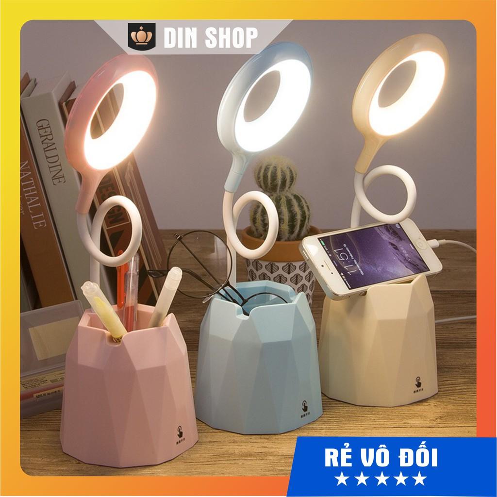 Đèn bàn học sạc tích điện FREESHIP Đèn led đọc sách chống cận cho trẻ học sinh công tắc cảm ứng kèm ống bút xoay 360độ