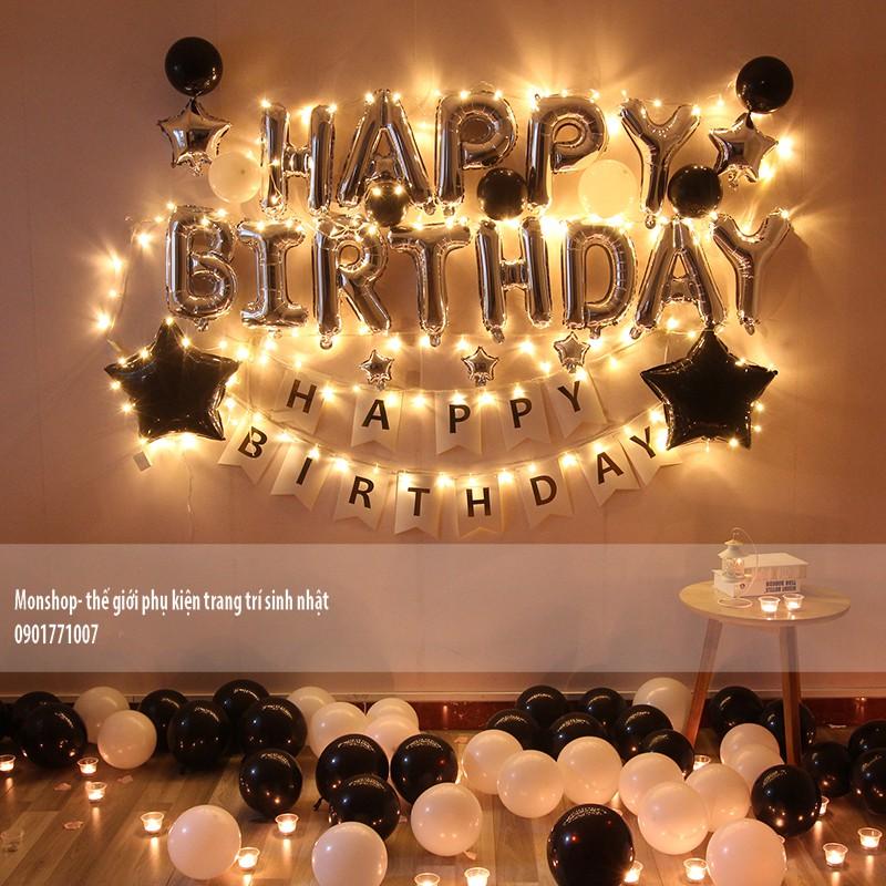 combo set bóng trang trí sinh nhật đầy đủ y ảnh kèm cả dây đèn led và bóng số tuổi có nhiều tông màu khách