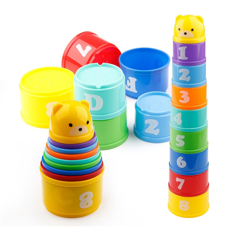 Educational Baby Toys 6Month+ Figures Letters Foldind Stack Cup Tower Children Early Learning