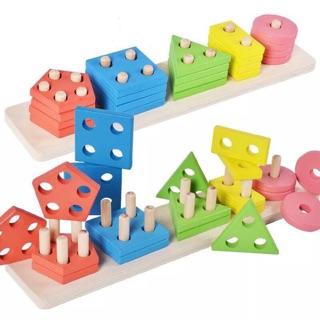 Thanh gỗ thả hình phân biệt màu sắc hình khối