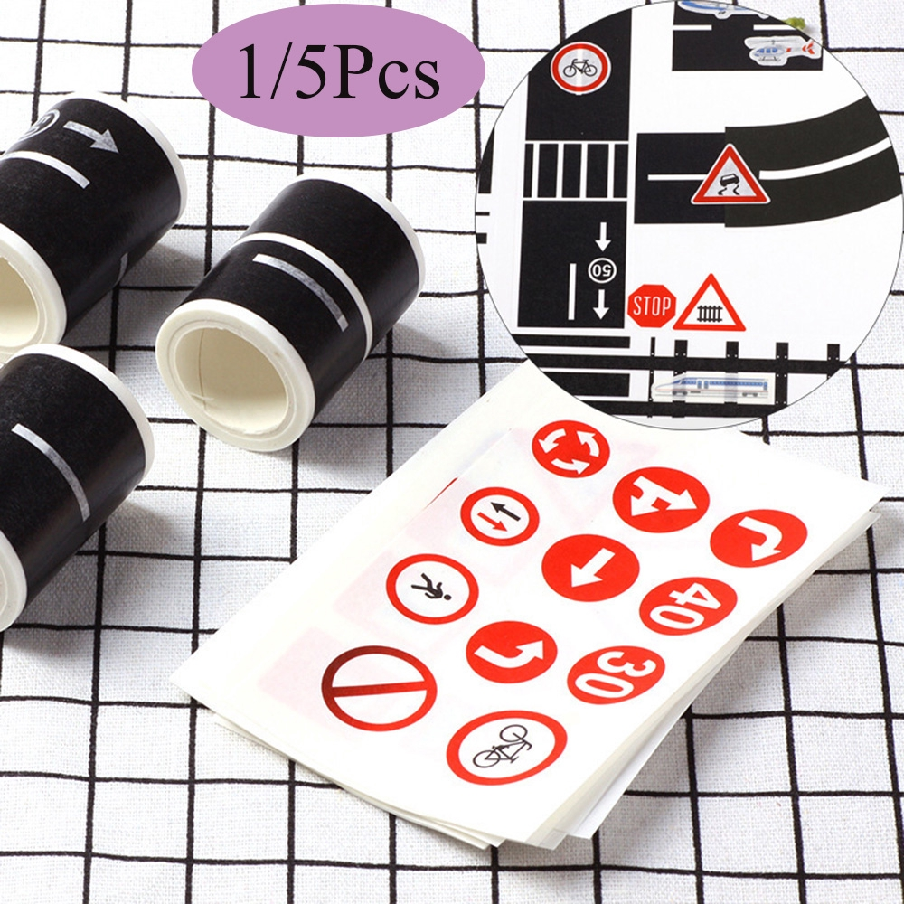 1/5Pcs DIY Adhesive Kids Learning Route Mark Intelligence Railway Road Tape