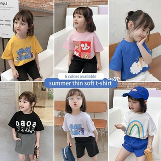 New Cartoon Blouse Tops For Kids Girls Boys Fashion Cute Printed Summer Short-sleeved T-shirts 3-8 Years