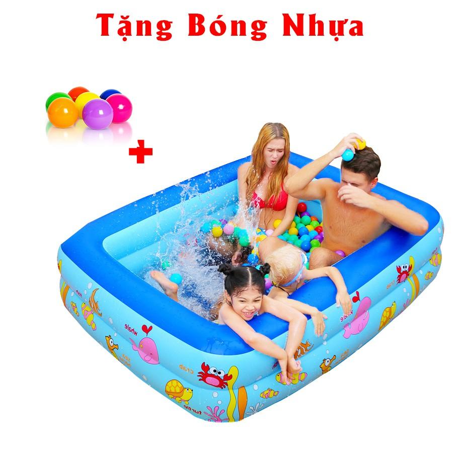 Bể phao bơi 2 tầng họa tiết dễ thương, chất liệu an toàn cho bé thỏa sức vui chơi - Giao mẫu ngẫu nhiên