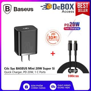 Combo Cốc sạc nhanh 20W Baseus Super Si cho IPhone 12, Hổ trợ Q.C 3.0 18W  (Kèm Dây Cáp Sạc PD 20W) - Hàng chính hãng