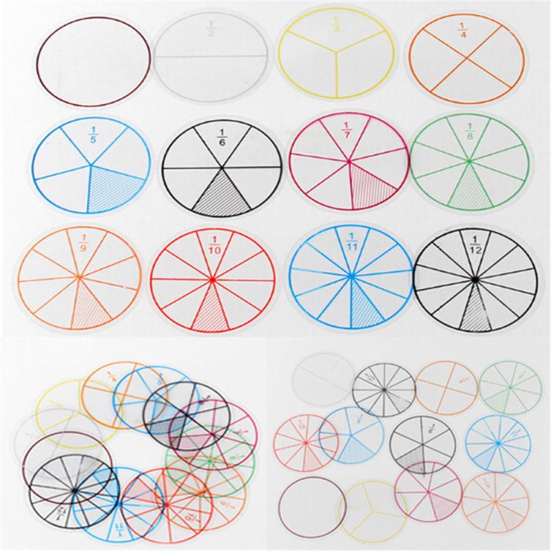 12X Math Fraction Circles For Children Kids Student School Educational Toy Gift