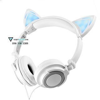 Tai nghe tai mèo Classic màu trắng xám có đèn led siêu cute