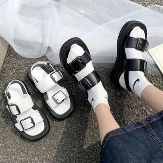 [Mã FAMAYWA giảm 10k đơn từ 50k] dép sandal 2 màu đen trắng ĐẾ BÁNH MỲ HAI QUAI - CÓ SẴN HÀNG
