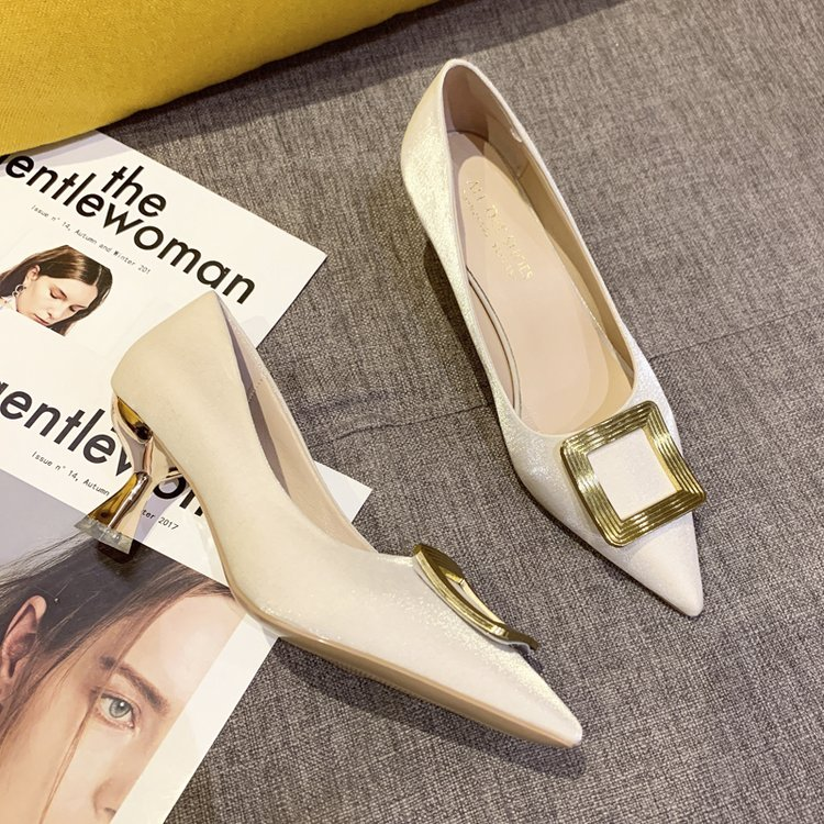 Giày Cao Gót Mũi Nhọn Mặt Khóa Vuông Thanh Lịch Thời Trang Nữ Công Sở