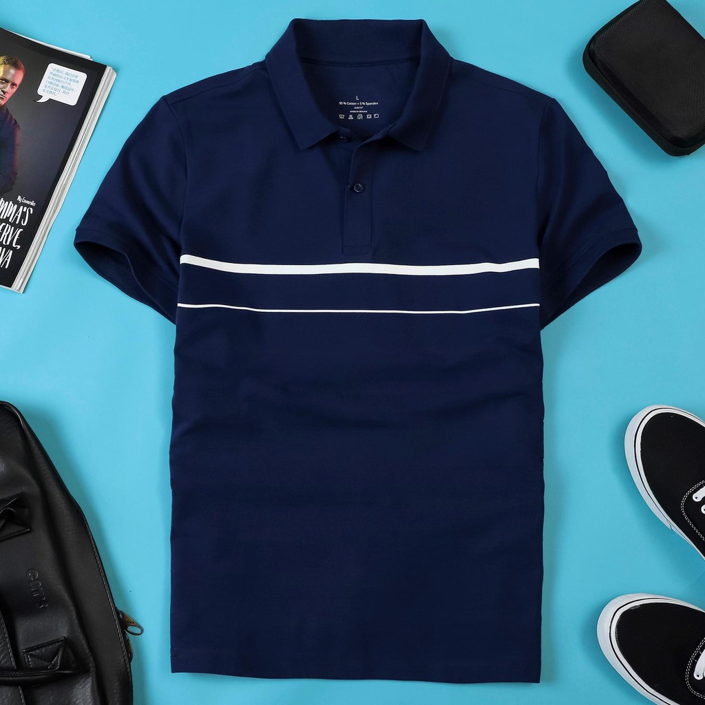 - Áo thun nam POLO thiết kế sọc ngang vải cá sấu cotton cao cấp ngắn tay cực sang trọng