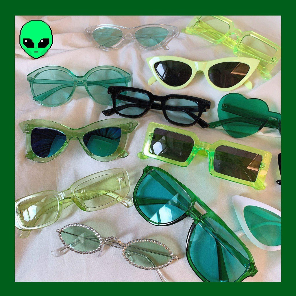 Green Series Parent-Child Love Girl Heart Korean Sunglasses Retro Street Shooting Ins Sunglasses Jumping Di Couple Glass