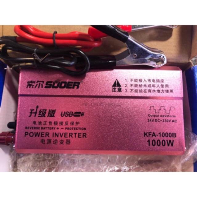 Bộ kích điện SUOER KFA 1000W Power inverter 24V lên 220V