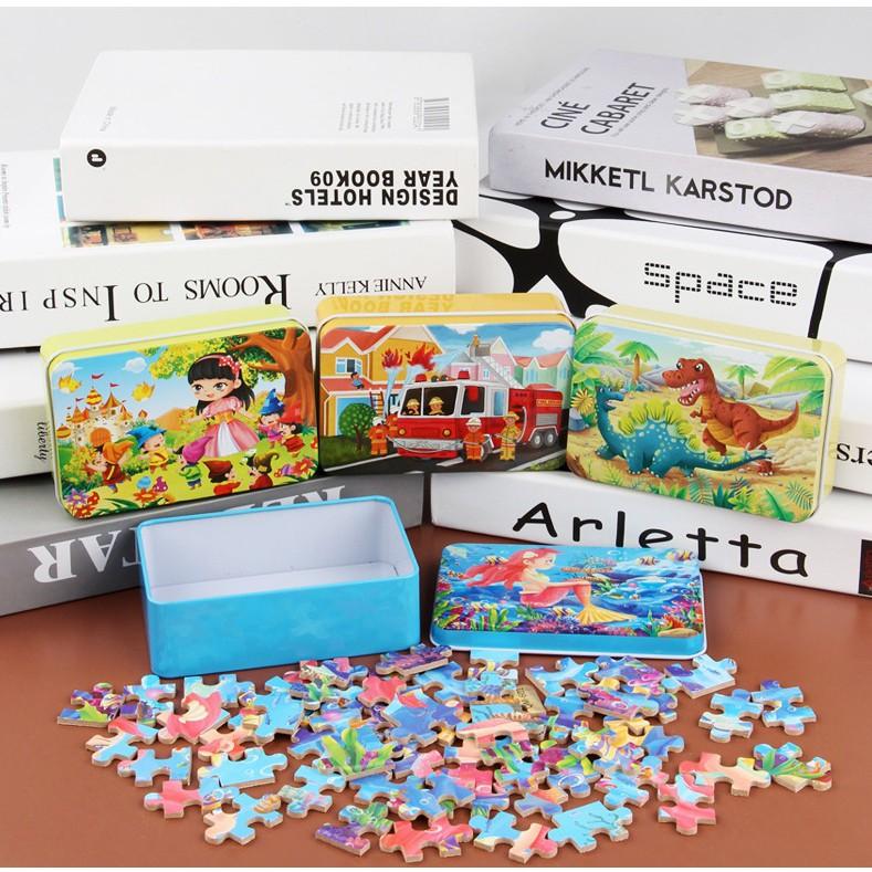 Tranh ghép hình cho bé, đồ chơi gỗ xếp hình thông minh 60 miếng kèm hộp thiếc (Combo 2 bộ...