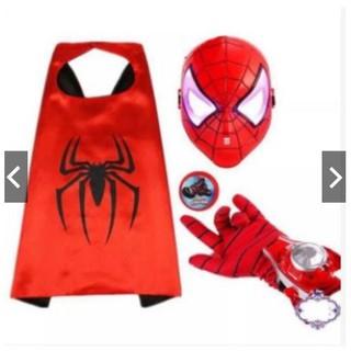 Bộ áo choàng, mặt nạ, găng tay người nhện cho bé trai squishyshop664