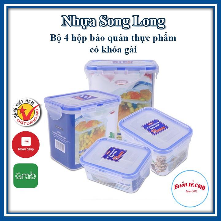 Bộ 4 hộp bảo quản thực phẩm Four Lock SONG LONG có khóa cài (MS: 2503, 2504, 2505, 2506) – Buôn Rẻ