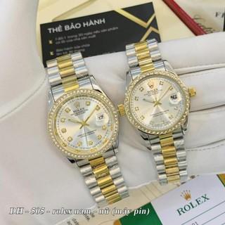 [Video thật] Đồng hồ nam nữ Rolex - unisex viền đá dây kim loại chống nước - DH505 - Shop404
