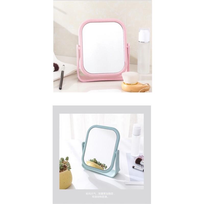 ♥️FREESHIP♥️ Gương trang điểm để bàn lúa mạch 2 mặt gương xoay 360 độ