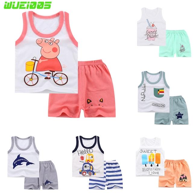 Kids Girls Boys Summer Cartoon Cotton Vest + Shorts Set