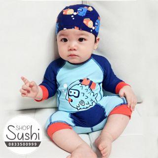 (FreeShip) Bộ bơi thân liền CÓ MŨ – Áo bơi trẻ em hình cá nóc