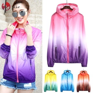 ✿JDBE✿ Hooded Sun Protection Jackets Thin Zipper Sunproof Quick Dry Breathable Coat