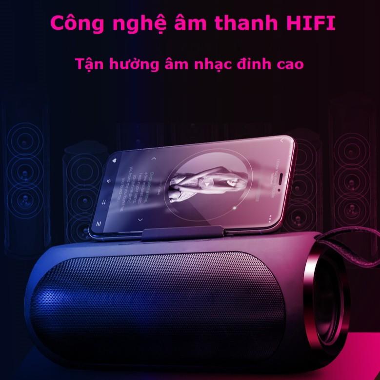 Loa Bluetooth Siêu Bass V6 Không Dây Công Suất Lớn Có Giá Đỡ Điện Thoại, hỗ trợ usb thẻ nhớ và cổng aux 3.5