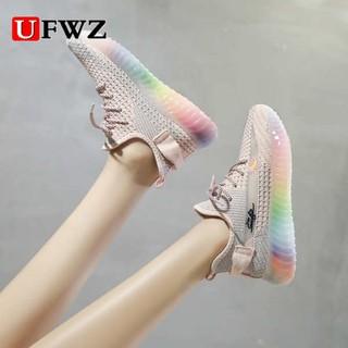 Giày nhỏ màu trắng, nữ mùa hè 2021, phần mỏng, lưới thoáng khí, cầu vồng có độ dày thạch cầu vồng thumbnail